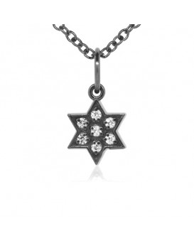 Star of David Charm in 18K Gold - Black Rhodium with High Quality Diamonds