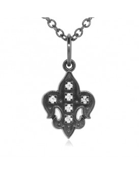 Fleur De Lis Charm in 18K Gold - Black Rhodium with High Quality Diamonds