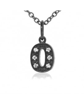 Number '0' Charm in 18K Gold - Black Rhodium with high quality diamonds
