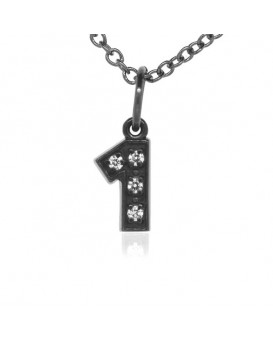 Number '1' Charm in 18K Gold - Black Rhodium with high quality diamonds