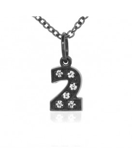 Number '2' Charm in 18K Gold - Black Rhodium with high quality diamonds
