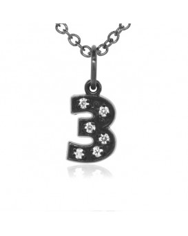 Number '3' Charm in 18K Gold - Black Rhodium with high quality diamonds