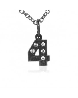 Number '4' Charm in 18K Gold - Black Rhodium with high quality diamonds