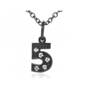 Number '5' Charm in 18K Gold - Black Rhodium with high quality diamonds
