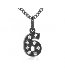 Number '6' Charm in 18K Gold - Black Rhodium with high quality diamonds
