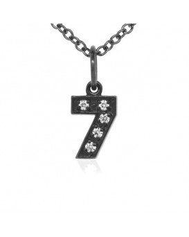 Number '7' Charm in 18K Gold - Black Rhodium with high quality diamonds