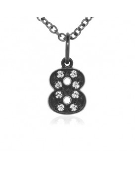 Number '8' Charm in 18K Gold - Black Rhodium with high quality diamonds