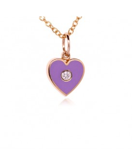 French Enamel Rose Gold Heart Charm