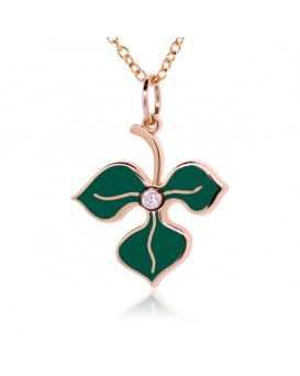 French Enamel Rose Gold Leaf Charm