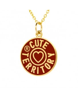 French Enamel Cute Territory Charm in Ruby Red