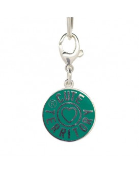 French Enamel Cute Territory Pet Tag in Emerald Green