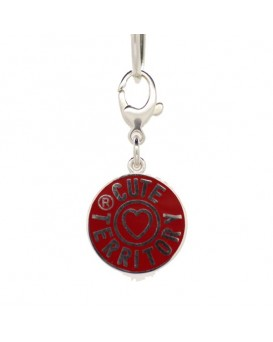 French Enamel Cute Territory Pet Tag in Ruby Red