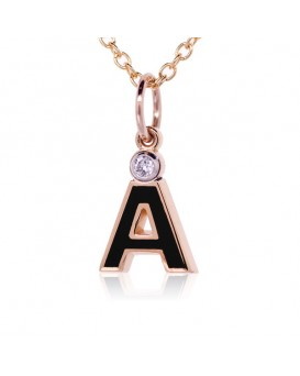 "Letter ""A"" French Enamel Charm, 18K Rose Gold with High Quality Diamond"