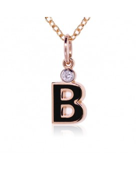 "Letter ""B"" French Enamel Charm, 18K Rose Gold with High Quality Diamond"