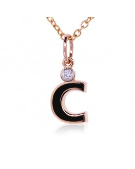 "Letter ""C"" French Enamel Charm, 18K Rose Gold with High Quality Diamond"