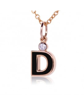 "Letter ""D"" French Enamel Charm, 18K Rose Gold with High Quality Diamond"