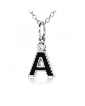 "Letter ""A"" French Enamel Charm, 18K White Gold with High Quality Diamond"