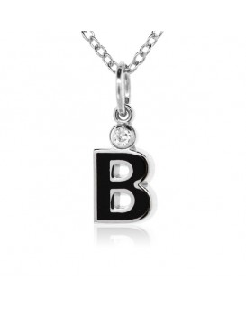 "Letter ""B"" French Enamel Charm, 18K White Gold with High Quality Diamond"