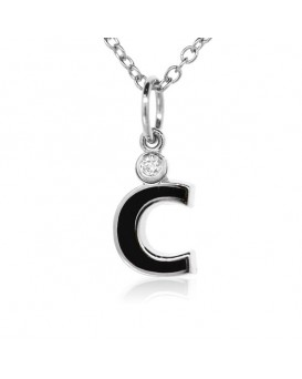 "Letter ""C"" French Enamel Charm, 18K White Gold with High Quality Diamond"