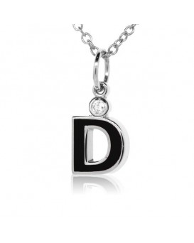"Letter ""D"" French Enamel Charm, 18K White Gold with High Quality Diamond"