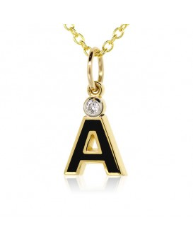 "Letter ""A"" French Enamel Charm, 18K Yellow Gold with High Quality Diamond"