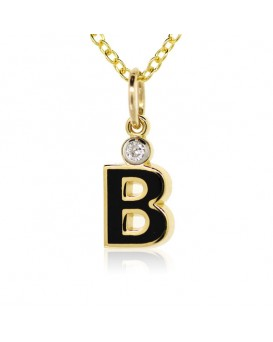 "Letter ""B"" French Enamel Charm, 18K Yellow Gold with High Quality Diamond"