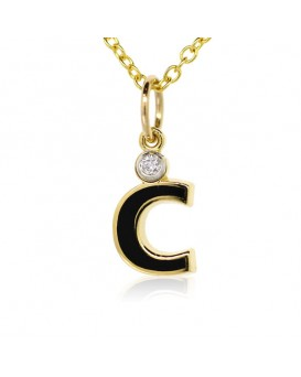 "Letter ""C"" French Enamel Charm, 18K Yellow Gold with High Quality Diamond"