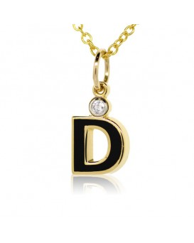 "Letter ""D"" French Enamel Charm, 18K Yellow Gold with High Quality Diamond"