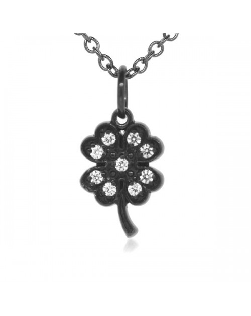 8d446142e Four Leaf Clover Charm in 18K Gold - Black Rhodium with High ...