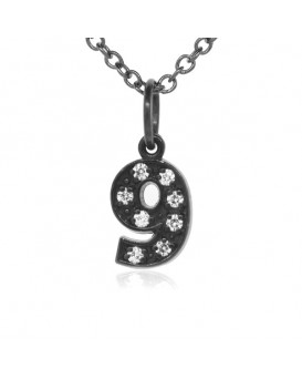 Number '9' Charm in 18K Gold - Black Rhodium with high quality diamonds