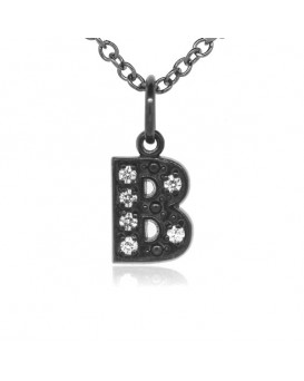 Alphabet Charm, Letter 'B'  in 18K Gold Black Rhodium with high quality diamonds