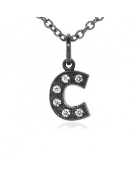 Alphabet Charm, Letter 'C'  in 18K Gold - Black Rhodium with high quality diamonds