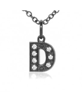 Alphabet Charm, Letter 'D'  in 18K Gold - Black Rhodium with high quality diamonds