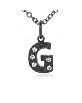 Alphabet Charm, Letter 'G'  in 18K Gold Black Rhodium with high quality diamonds