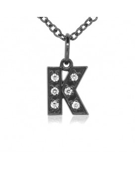 Alphabet Charm, Letter 'K' in 18K Gold - Black Rhodium with high quality diamonds