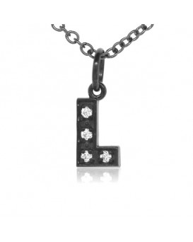 Alphabet Charm, Letter 'L'  in 18K Gold - Black Rhodium with high quality diamonds
