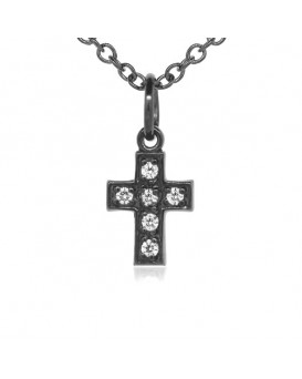 Cross Charm in 18K Gold - Black Rhodium with High Quality Diamonds