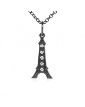 Eiffel Tower Charm in 18K Gold - Black Rhodium with High Quality Diamonds