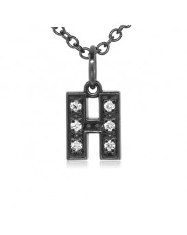 Alphabet Charm, Letter 'H'  in 18K Gold - Black Rhodium with high quality diamonds