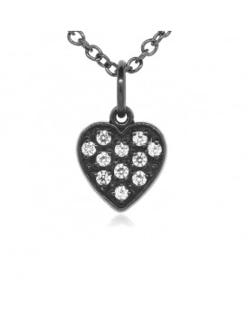 Heart Charm in 18K Gold - Black Rhodium with High Quality Diamonds