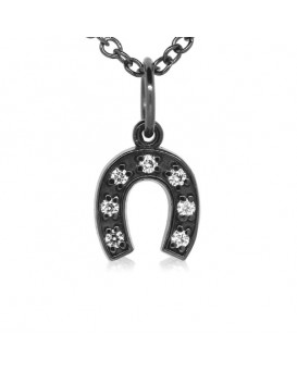 Horseshoe Charm in 18K Gold - Black Rhodium with High Quality Diamonds