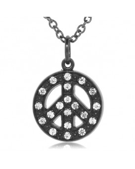 Peace Sign Charm in 18K Gold - Black Rhodium with High Quality Diamonds