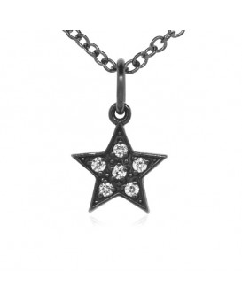 Star Charm in 18K Gold - Black Rhodium with High Quality Diamonds