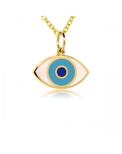French enamel yellow gold evil eye charm aloadofball Gallery