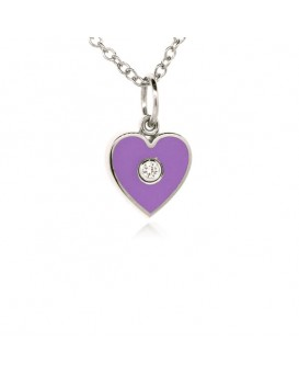 French Enamel White Gold Heart Charm
