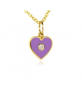 French Enamel Yellow Gold Heart Charm