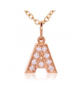 Alphabet Charm, Letter 'A'  in 18K Rose Gold with high quality diamonds