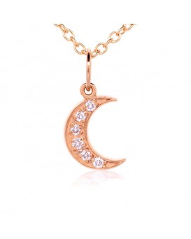Crescent Moon Charm in 18K Rose Gold with High Quality Diamonds