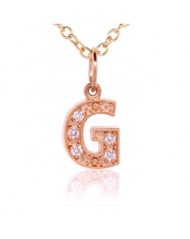 Alphabet Charm, Letter 'G'  in 18K Rose Gold with high quality diamonds