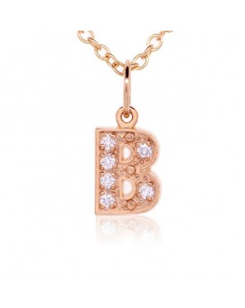 Alphabet Charm, Letter 'B'  in 18K Rose Gold with high quality diamonds